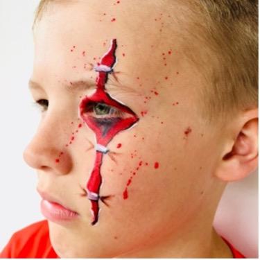 Åbent sår Halloween ansigtsmaling 2021 fra colorfullaces